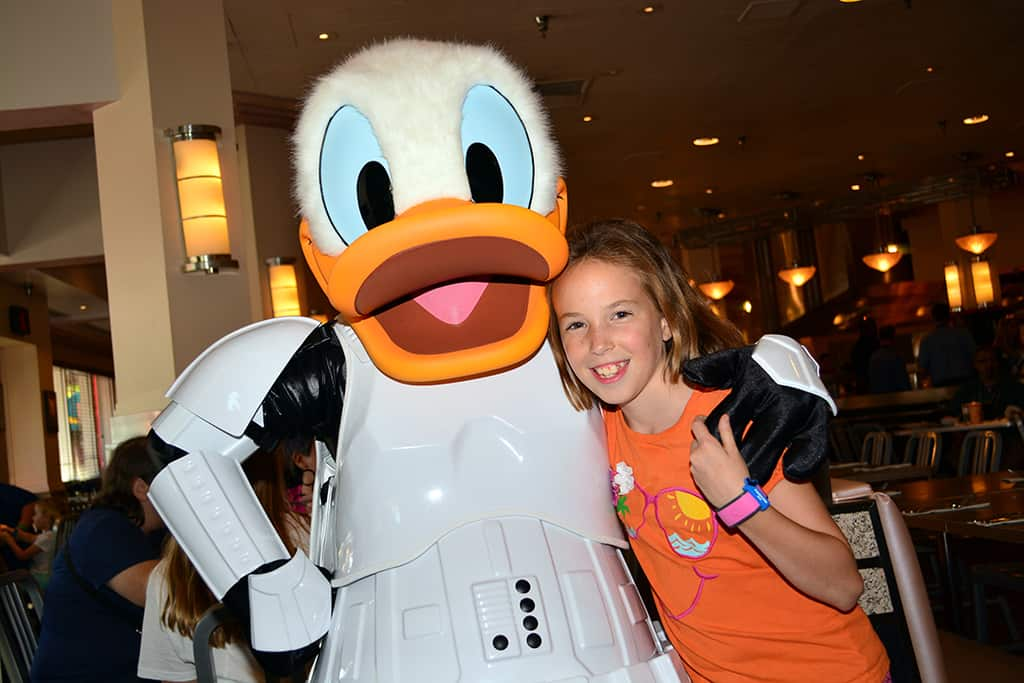 Stormtrooper Donald at Jedi Mickey Star Wars Diner at Hollywood and Vine in Disney Hollywood Studios