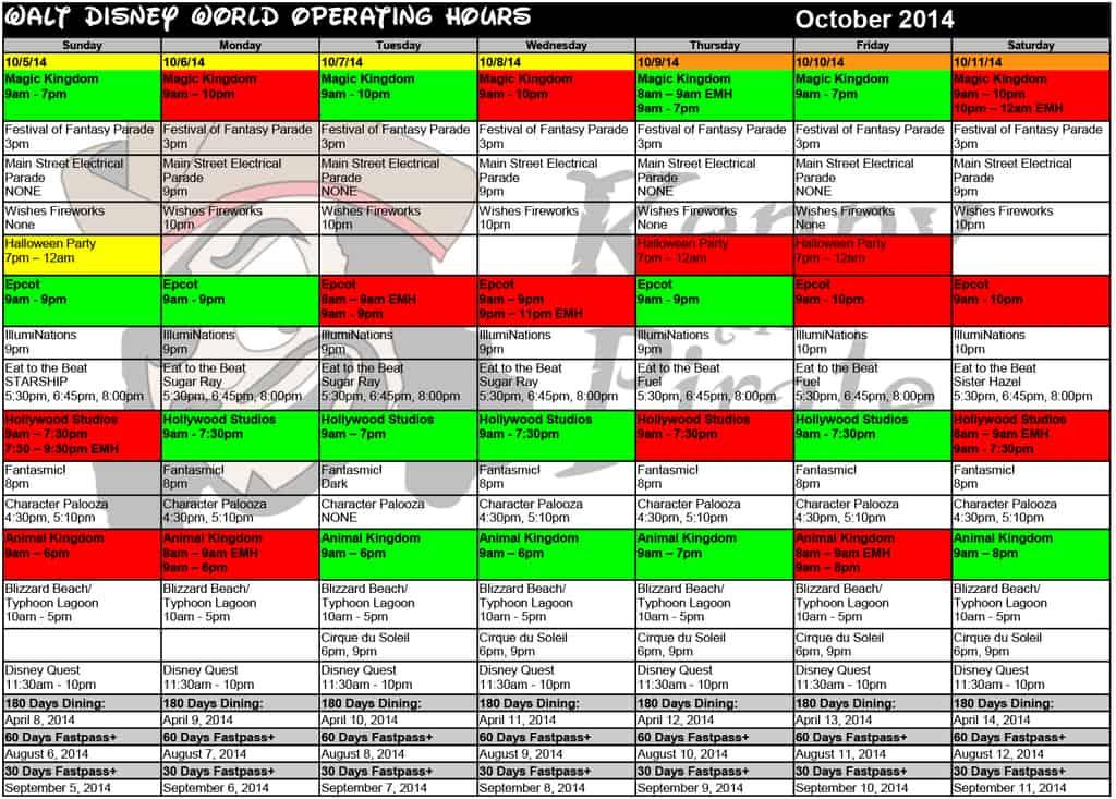 October disney world crowd calendar park hours kennythepirate 2 Busch gardens crowd calendar