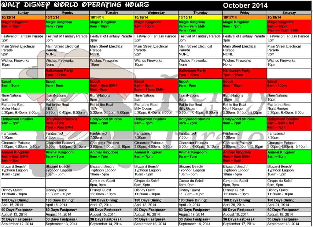 October disney world crowd calendar park hours kennythepirate 3 Busch gardens crowd calendar
