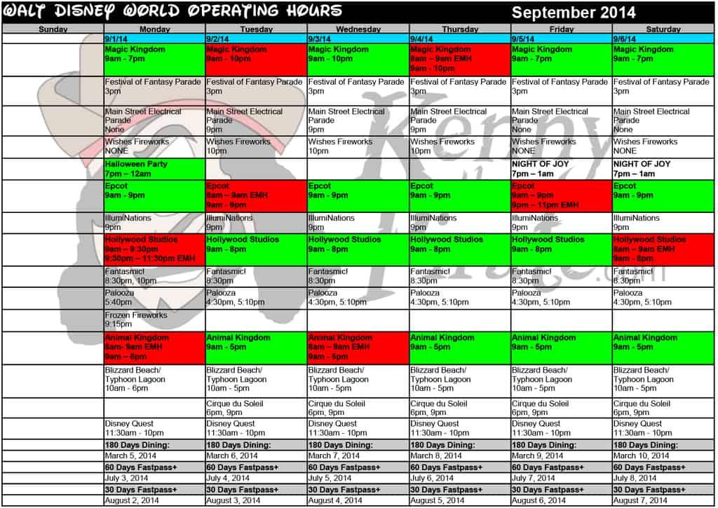 September 2014 disney world crowd calendar park hours kennythepirate 1 Busch gardens crowd calendar