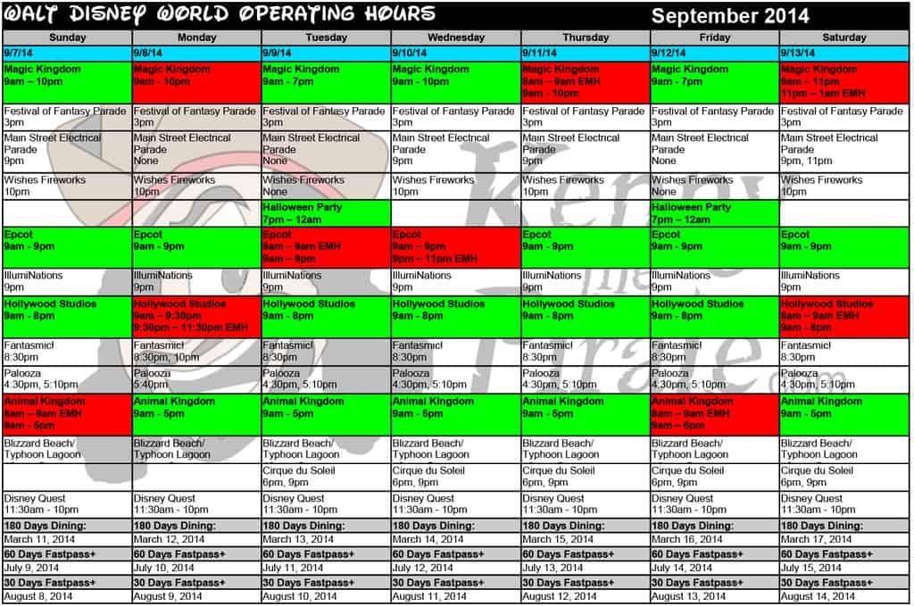 September 2014 disney world crowd calendar park hours kennythepirate 2 Busch gardens crowd calendar