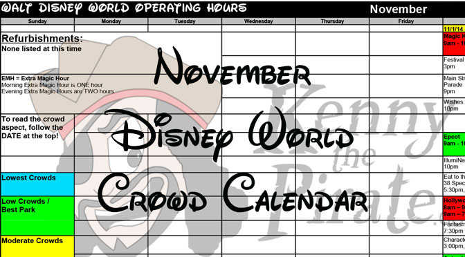 November 2016 Disney World Crowd Calendar and initial park hours released