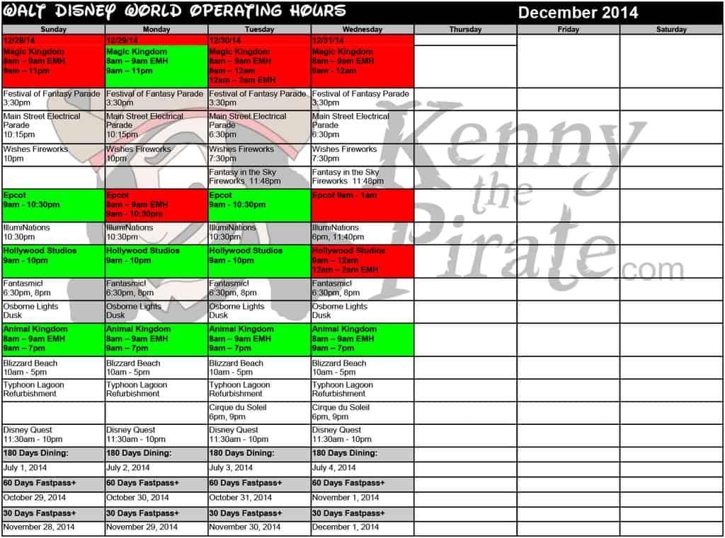 December disney world crowd calendar park hours kennythepirate 5 Busch gardens crowd calendar