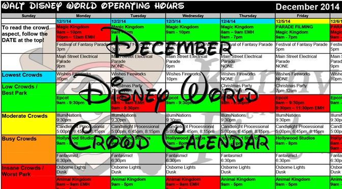 2015 December Disney World crowds calendar, park hours, show schedules ...