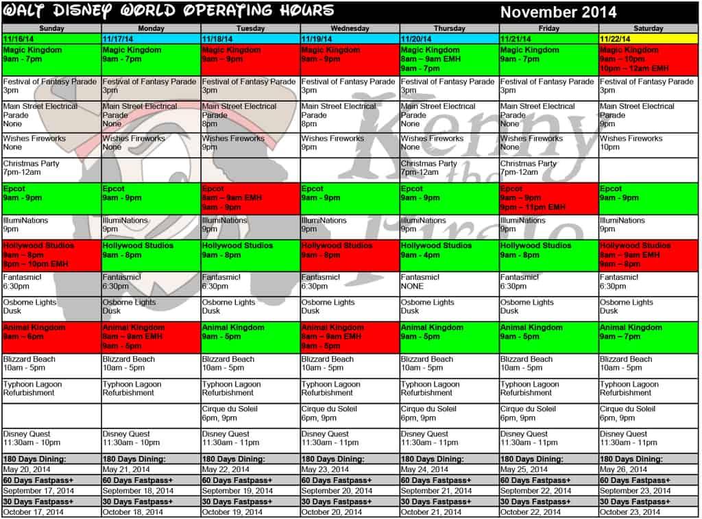 November disney world crowd calendar park hours kennythepirate 4 Busch gardens crowd calendar
