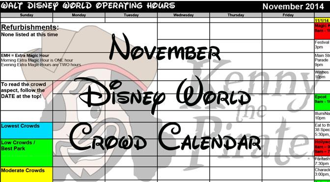 November Disney World Crowd Calendar Park Hours KennythePirate header