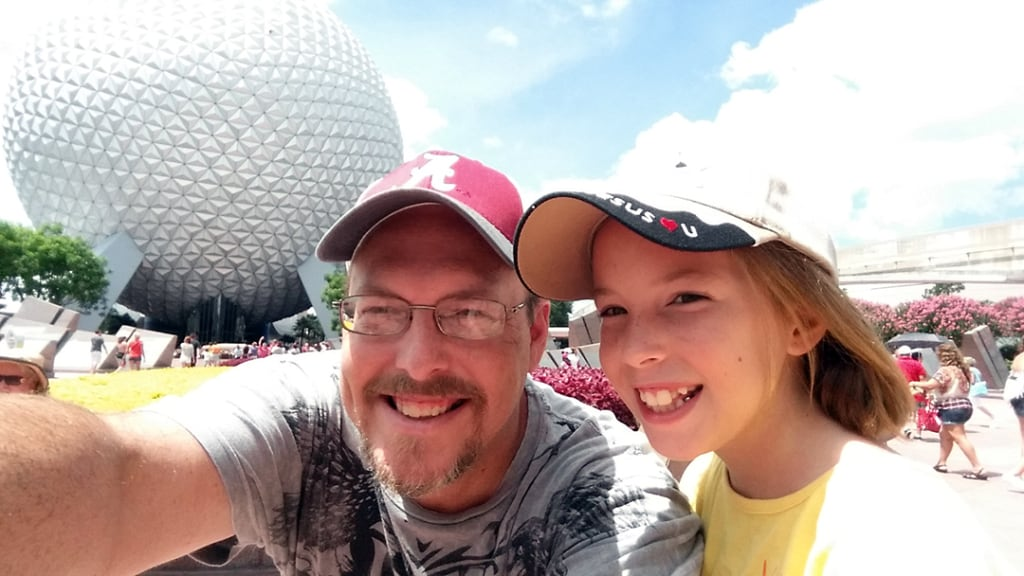 Epcot photo with Spaceship Earth
