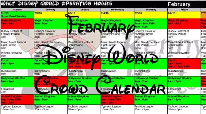 February Disney World Crowd Calendar, Park Hours, Entertainment with Fastpass and Dining Booking Dates KennythePirate header