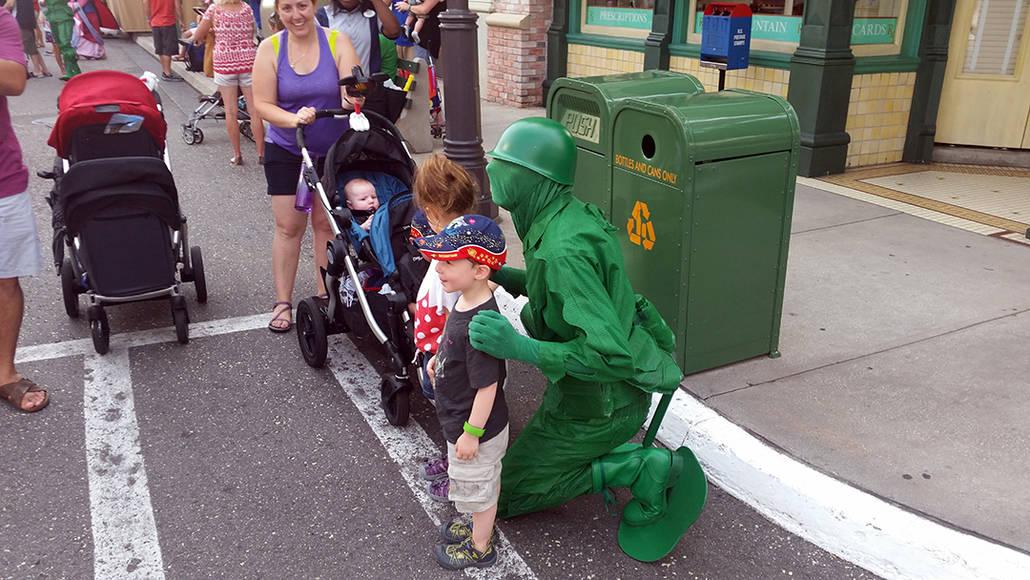 Character Palooza on New York Street in Hollywood Studios in Disney World Green Army Man