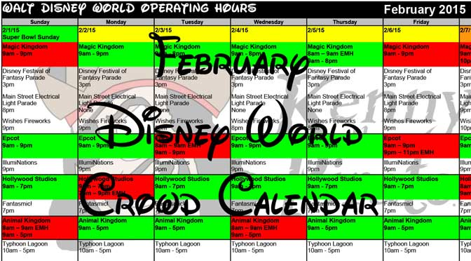 February Disney World Crowd Calendar Park Hours KennythePirate header