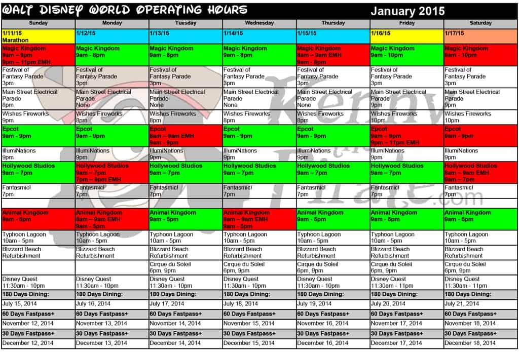 Disneyland January 2015 Crowds | Calendar Template 2016