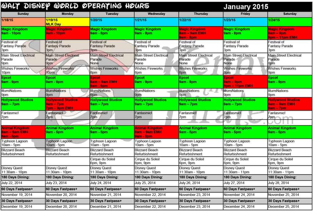 January disney world crowd calendar park hours kennythepirate 4 Busch gardens crowd calendar