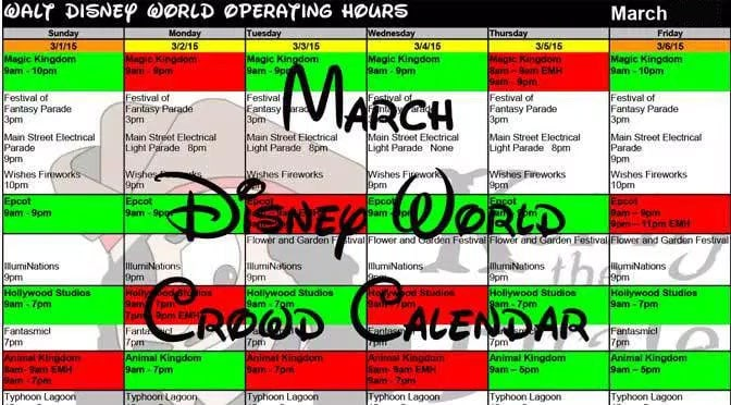 March Disney World Crowd Calenda, Park Hours, Entertainment, Fastpass and Dining Booking Dates KennythePirate