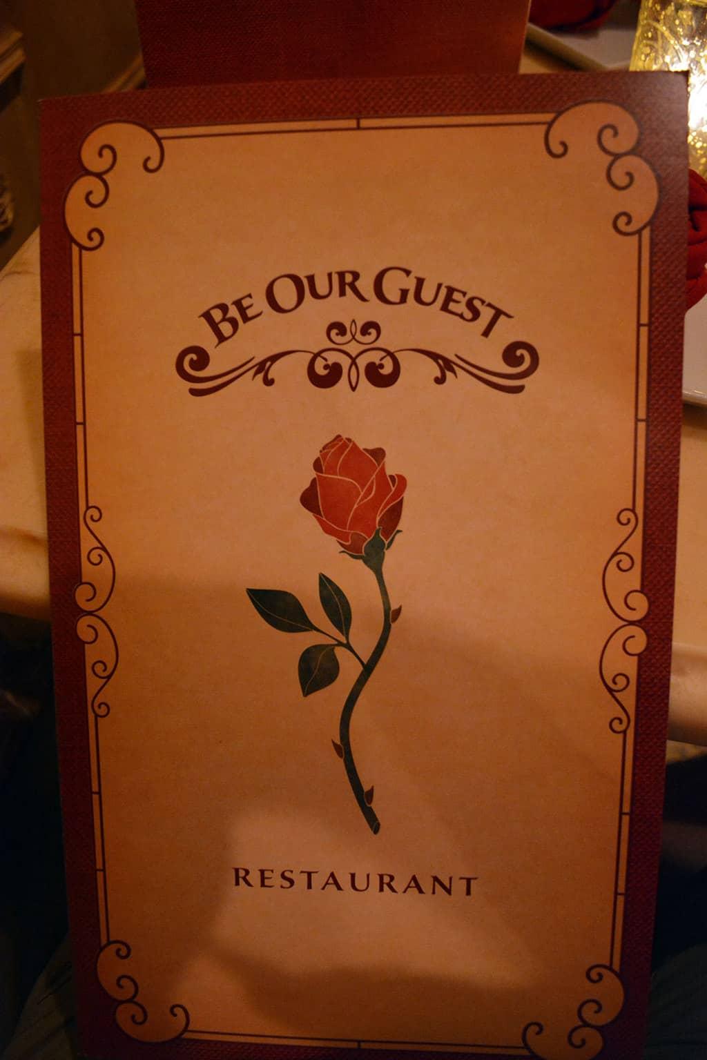 Be Our Guest Restaurant menu