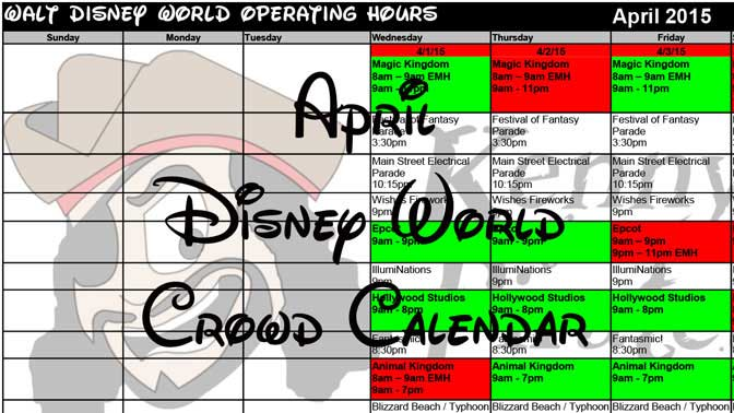 April Disney World Crowd Calendar Park Hours KennythePirate header