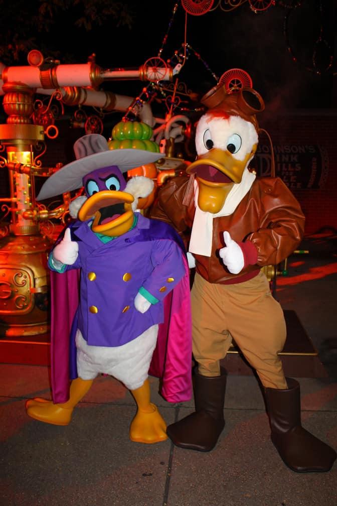 Darkwing Duck and Launchpad McQuack at Disneyland Paris Halloween Soiree 2014