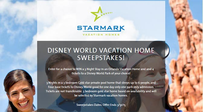 StarMark Vacation Homes Disney World Vacation Home Sweepstakes l  kennythepirate com. StarMark Vacation Homes Disney World Vacation Home Sweepstakes