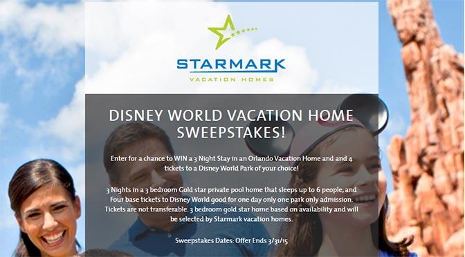StarMark Vacation Homes Disney World Vacation Home Sweepstakes l  kennythepirate com. StarMark Vacation Homes Disney World Vacation Home Sweepstakes