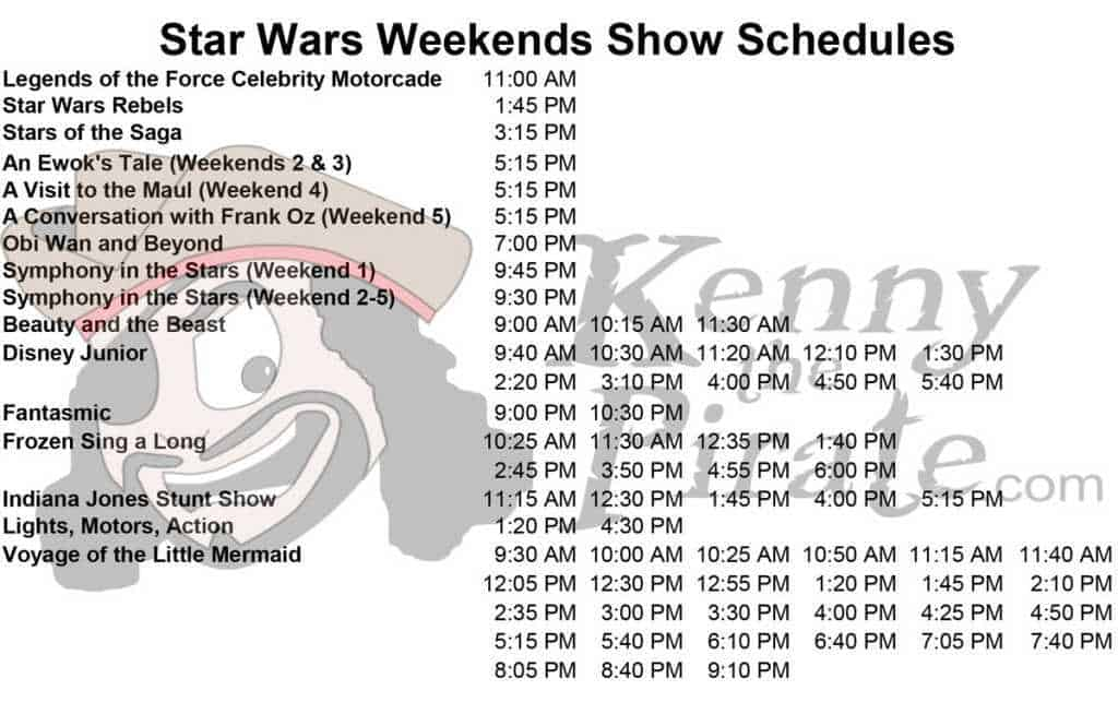 2015 Star Wars Weekends Show Schedules l kennythepirate.com