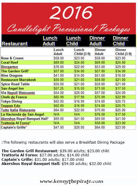 2016 Disney World Candlelight Processional Package Prices