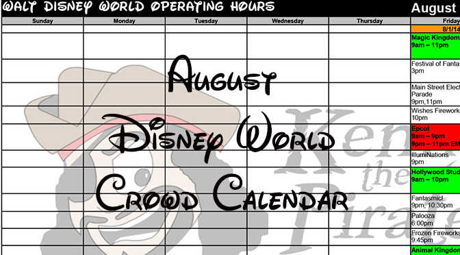 August 2016 Disney World Crowd Calendar, Park Hours and Extra Magic Hours completed