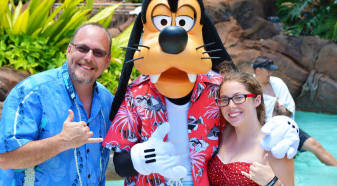 Disney Characters in their special Aulani costumes