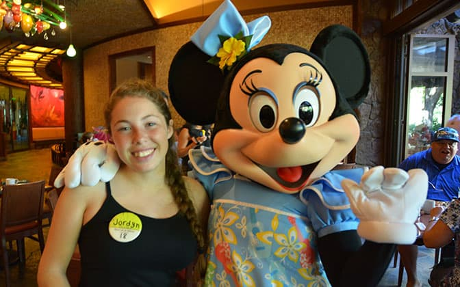 Minnie Mouse at Disney's Aulani Character Breakfast Meal at Makahiki