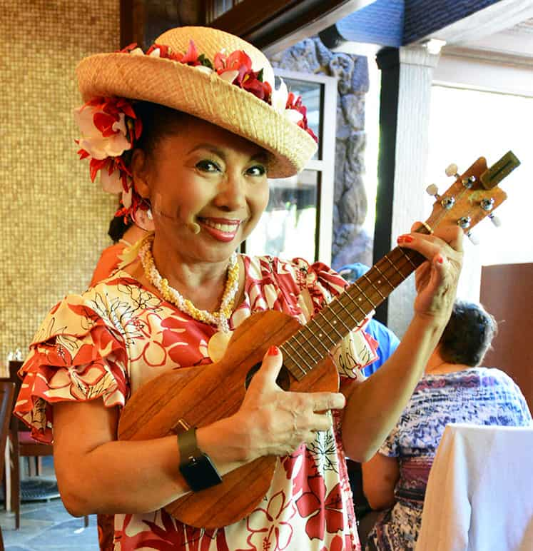 Aunty at Disney's Aulani Character Breakfast Meal at Makahiki
