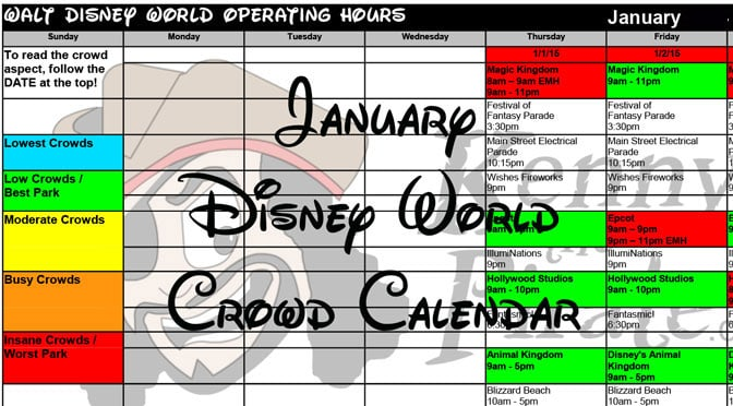 January Disney World Crowd Calendar Park Hours KennythePirate