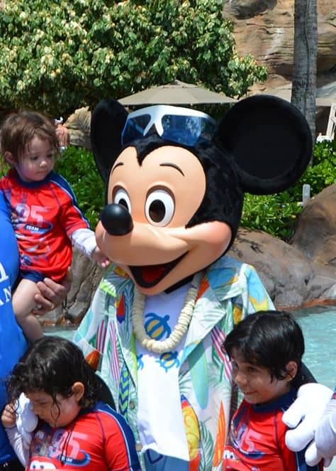 Mickey Mouse by the pool at Disney's Aulani