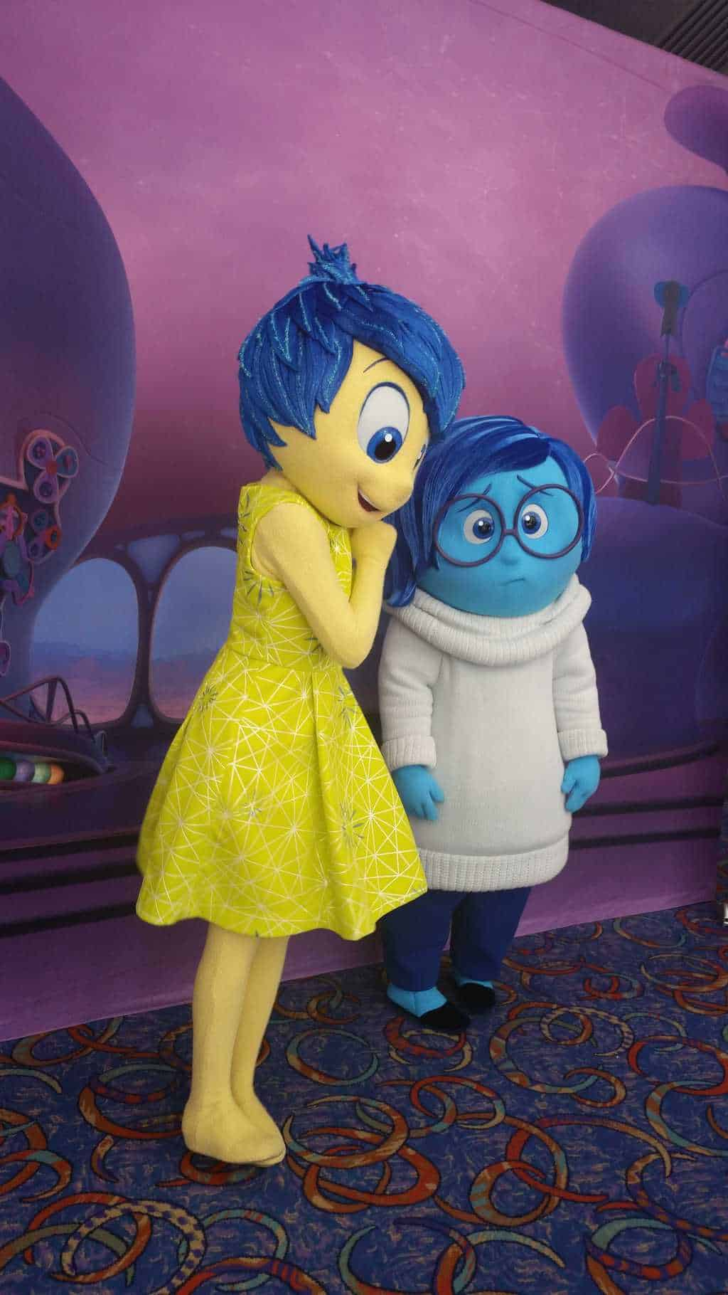 Inside Out Characters Sadness and Joy at Disney Parks Blog Meet