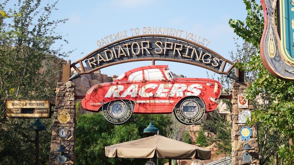 Radiator Springs Racers Entrance sign