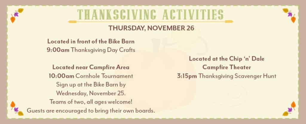 thanksgiving activities at Disney World Fort Wilderness resort