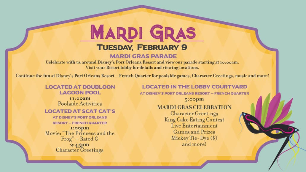 Disney World Resort Valentine's and Mardi Gras Activities