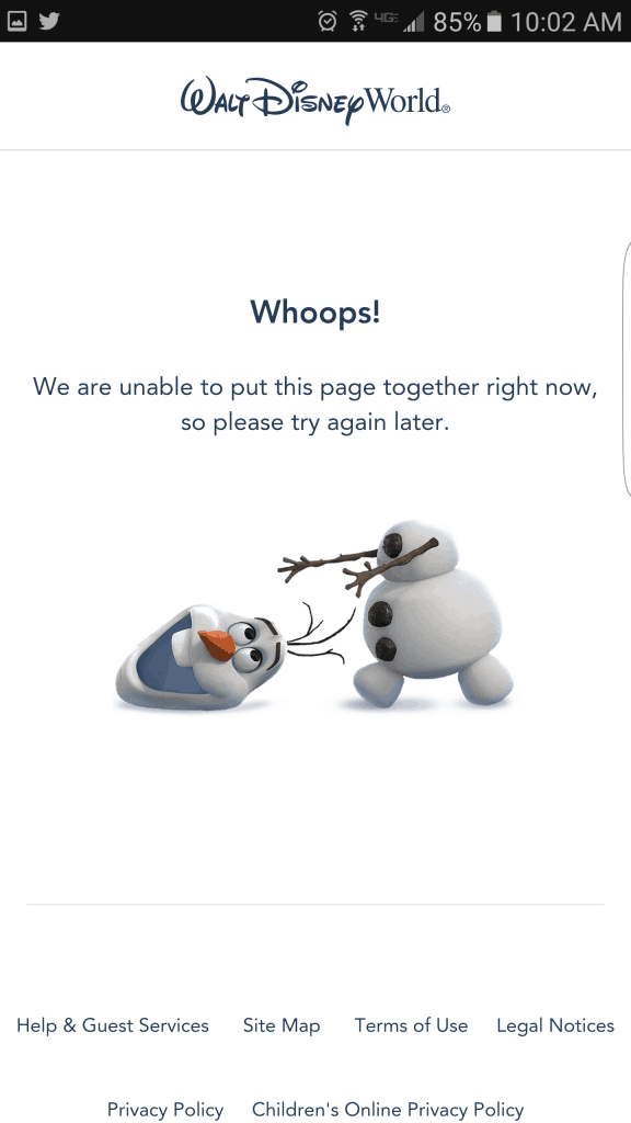 Olaf crashing My Disney Experience