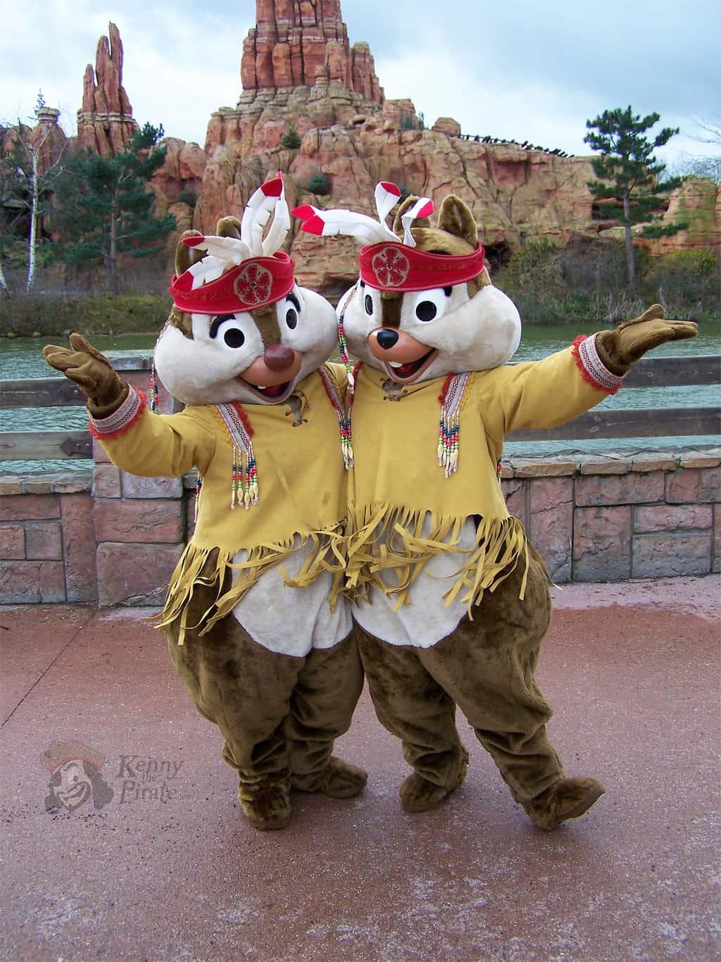 Chip n Dale meet n greet dressed as Indians at Frontierland in Disneyland Paris