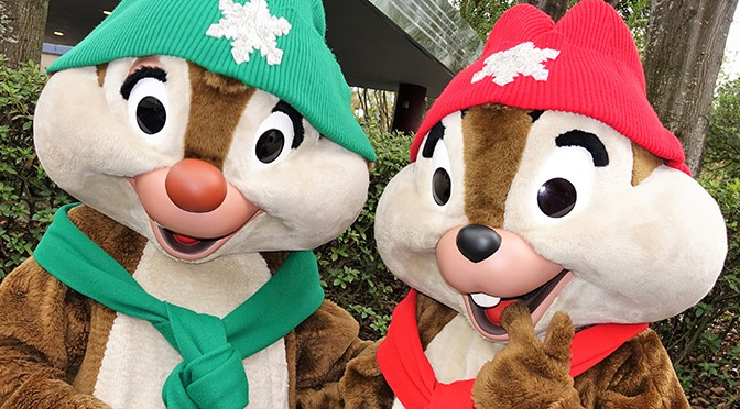 Chip n Dale wearing snowflake scarfs for Christmas at Hollywood Studios