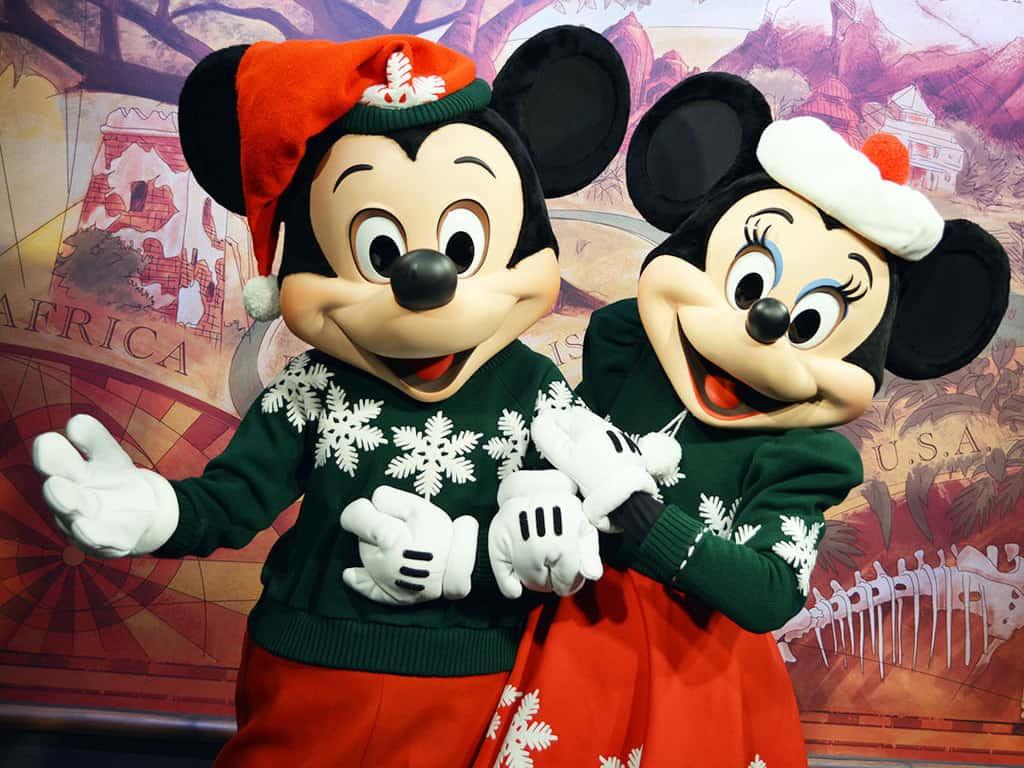 Mickey and Minnie in Christmas attire at Disney's Animal Kingdom