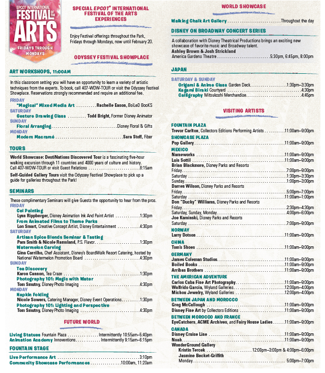 Epcot Festival of the Arts Times Guide