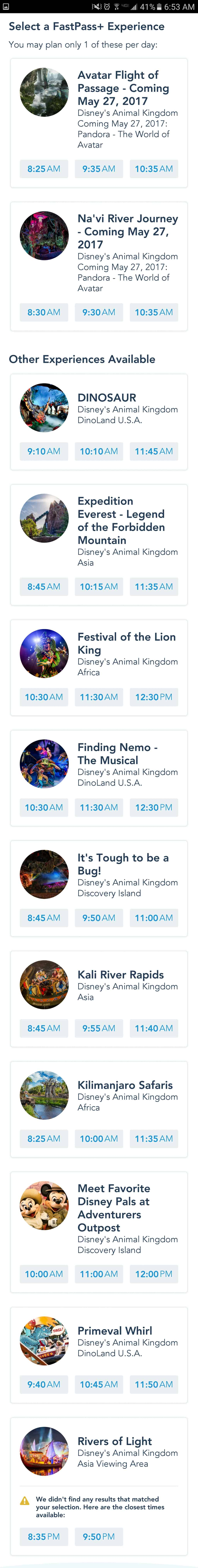 First look at Pandora Fastpass+ Tiers and Animal Kingdom park hours extended
