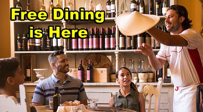 Get FREE dining plan this Summer at Walt Disney World!