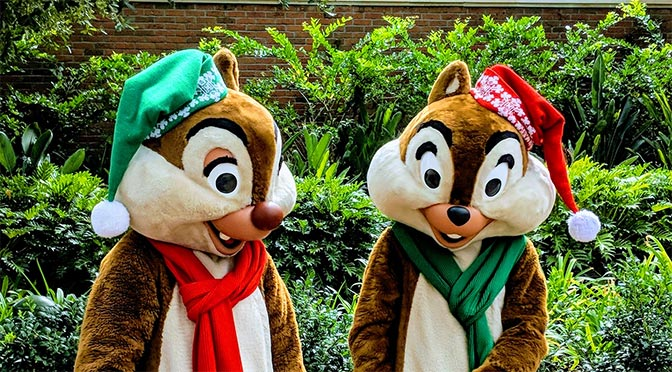 Characters dressed in their holiday finest at Disney's Hollywood Studios