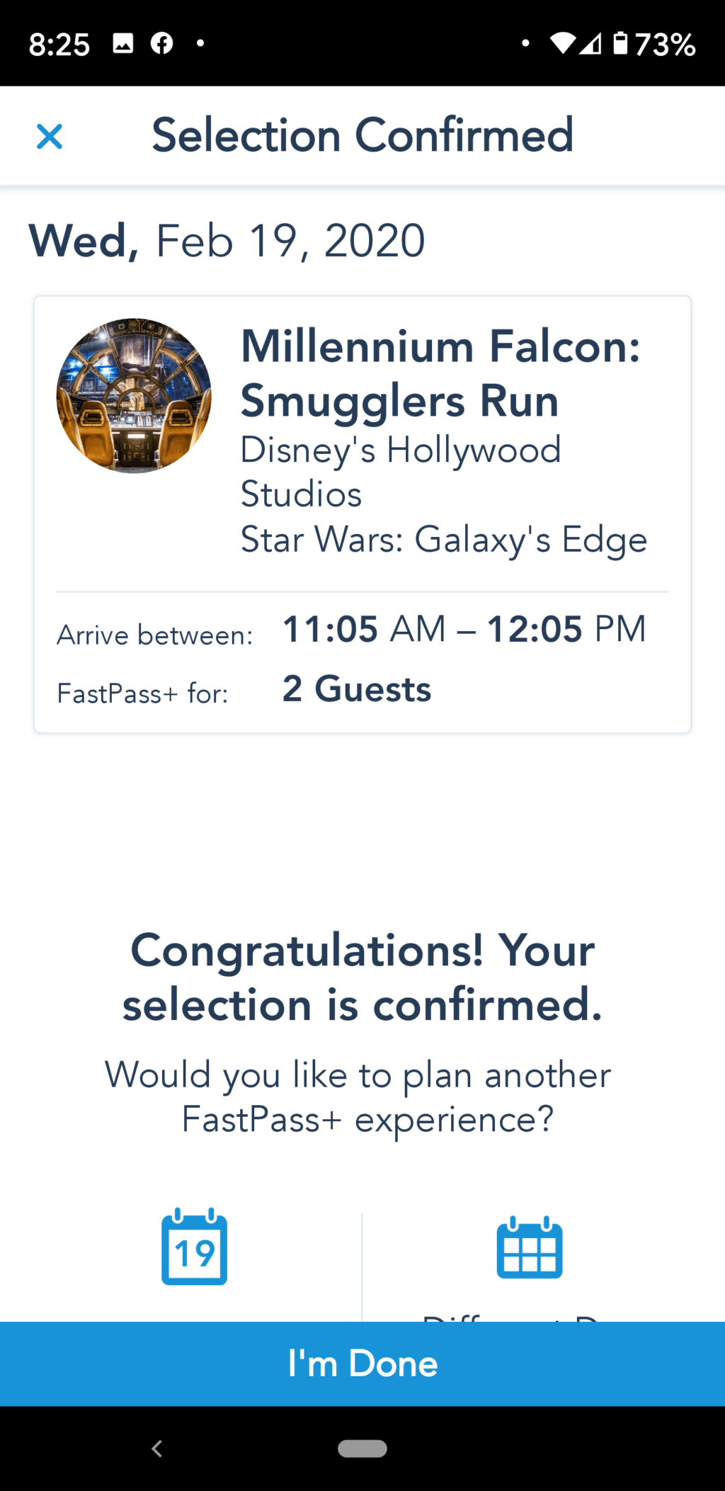 Millennium Falcon Smuggler's Run Fastpass+