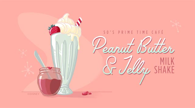 YUM! Try the Peanut Butter and Jelly Milk Shake from 50's Prime Time Cafe!