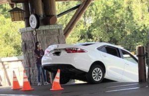 Photos: Guest Drives Car Down Stairs at Walt Disney World