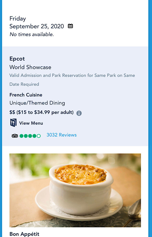 EPCOT table service opening delay