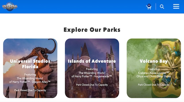 Universal Studios, Volcano Bay, and Islands of Adventure Have all Reached Capacity