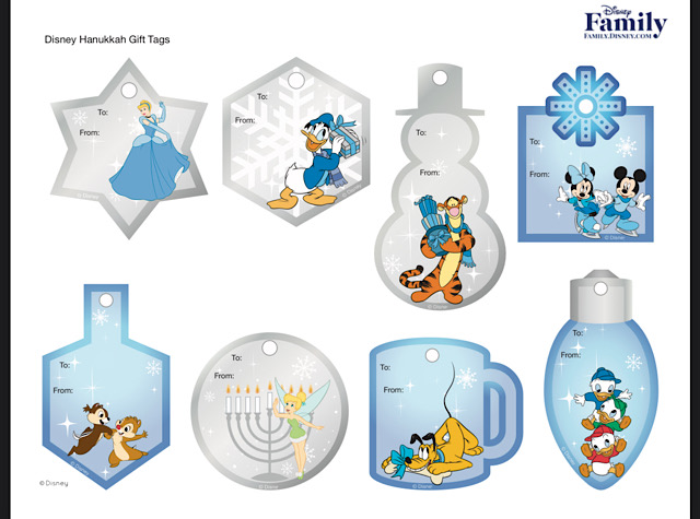 disney hanukkah merchandise activities gift tags