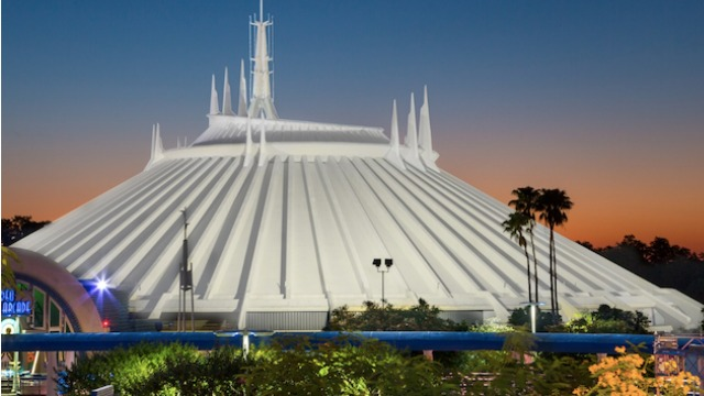 Catch a rare glimpse of Space Mountain with the lights on!
